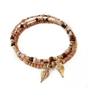 Sandy Pink Shell Beaded Layer Charm Bracelet